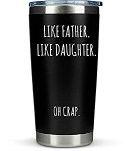 Fathers Day Gifts from Daughter Dad- 20oz Coffee Tumbler/Mug - Funny Gift Idea for Dad DOUBLE WALL VACUUM INSULATION: KLUBI Tumblers Keep your beverage at the ideal temperature, hot for 3 hours and cold for 9. Can be used for coffee/tea or your favor...