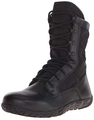"""TACTICAL RESEARCH TR Men's Mini-Mil TR102 8"""" Minimalist Boot for Law Enforcement, EMS, and Security Personnel - Low Drop, Black Full-Grain Cattlehide Leather, Black - 9R"""