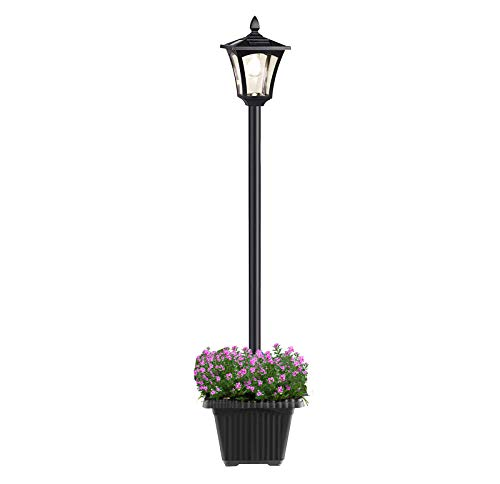 ZOVOTA Outdoor Solar Lamp Post Light with Planter, 67 Inch Solar Powered Street Lights with Planter for Yard Patio Garden Landscape Lawn