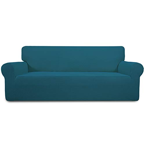 Easy-Going Stretch Oversized Sofa Slipcover 1-Piece Couch Sofa Cover Furniture Protector Soft with Elastic Bottom for Kids, Spandex Jacquard Fabric Small Checks(X Large,PeacockBlue)