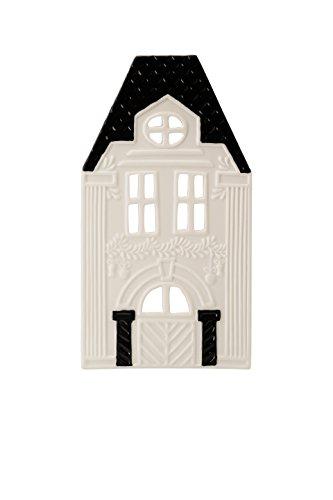 Hutschenreuther Little Christmas Town weiß Höhe 19.5 cm Lichterhaus Front 8 schwarz, Porzellan, 8 x 12 x 24 cm