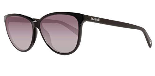 Just Cavalli JC670S 5801B Sunglasses JC670S 01B 58 Oval Sonnenbrille 58, Schwarz