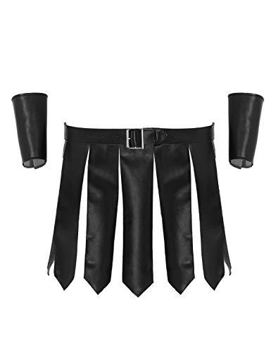 MSemis Gladiator Kostüm für Herren Römer-Kostüm Set Soldat Filmkostüm Kämpfer Fasching Verkleidung Lederrock Kilt mit Gürtel Armbänder Schwarz X-Large
