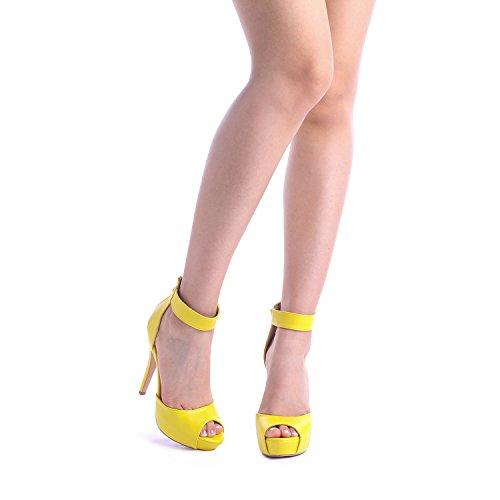 DREAM PAIRS SWAN-05 New Women's Ankle Strap Back Zipper Peep Toe High Heel Platform Pump Shoes,Yellow Pu,5 B(M) US