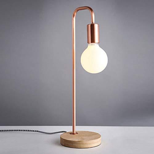 WJSW Antike Art Industrial Iron Gold Laterne Schreibtischlampe, 40W LED Blub enthalten,