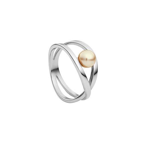 Heideman Ring Damen aus Edelstahl Silber farbend poliert Damenring für Frauen mit Swarovski Perle Platin rund 6mm