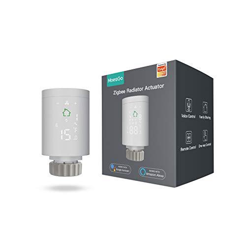MoesGo Tuya ZigBee3.0 Mini Heizkörper Stellantrieb Intelligenter Programmierbarer Thermostat Temperaturregler Heizen Präzise Batteriebetriebene TRV-Thermostat Ventilsteuerung Sprachsteuerung mit Alexa