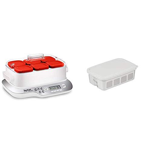 Moulinex Multidelices Express YG660120 - Yogurtera Eléctrica con 5 Programas y Función Exprés de 4 Horas + Tefal Multidelices Accesorios yogurtera, 1 tarro de plástico de 1 litro, 1 escurridor grande