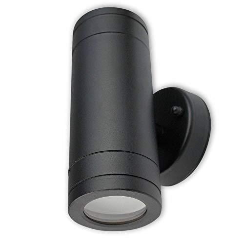LED Wandleuchte Außen schwarz 3 Watt neutralweiß – IP44 Up und Down Außen-Leuchte aus Aluminium 160x76mm – 2x GU10 Außenstrahler Garten-Lampe