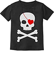 Kids pirate skull shirt with heart Valentine gift ideas.