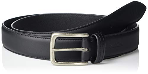 Columbia Men's Casual Trinity Style for Jeans Khakis Dress Leather Strap Silver Prong Buckle Belt, Black, 30