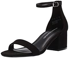 Modern classic dressy sandal with closed heel cup and faux suede counter Faux suede upper with faux leather lining and adjustable buckle closure on ankle strap with five fit settings Hidden elastic on ankle strap for flexible fit and super comfortabl...