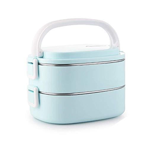 SCEFF Fiambrera de aislamiento – Fiambrera de acero inoxidable con doble aislamiento térmico – Fiambrera para estudiantes Bento Box apilable (color: azul)
