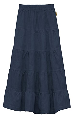 Baby'O Girl's Kids Ankle Length Long Denim Jeans 5 Tiered Skirt for 4 to 18 Years Old (Dark Blue - Medium)