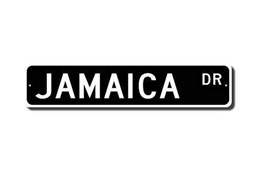 qidushop Jamaica Sign Jamaica Cadeau Souvenir de Jamaïque Panneau Jamaica Souvenir Décoration Murale Jamaica Jamaïque Fantaisie Plaque de Rue en métal en Aluminium Sign pour Homme Home Decor