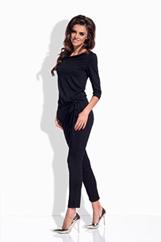 Lemoniade eleganter Jumpsuit mit 3/4-Ärmel und elegantem Wasserfallkragen, schwarz - 3