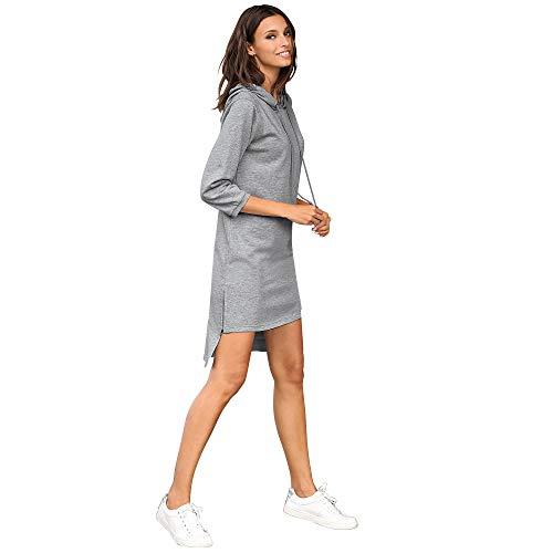 VENCA Vestido con Capucha y cordón de Ajuste Mujer by Vencastyle - 013222,Gris VIGORÉ,XXL
