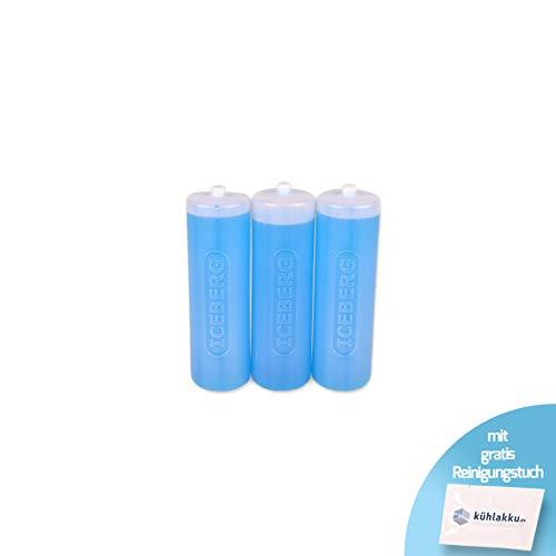 Runde Kühlakkus 3 x 500g, 12h Kühlleistung! Iceberg Kühlakku für Kühltaschen oder Kühlboxen, blau-transparent mit gratis Kühlakku Reinigungstuch