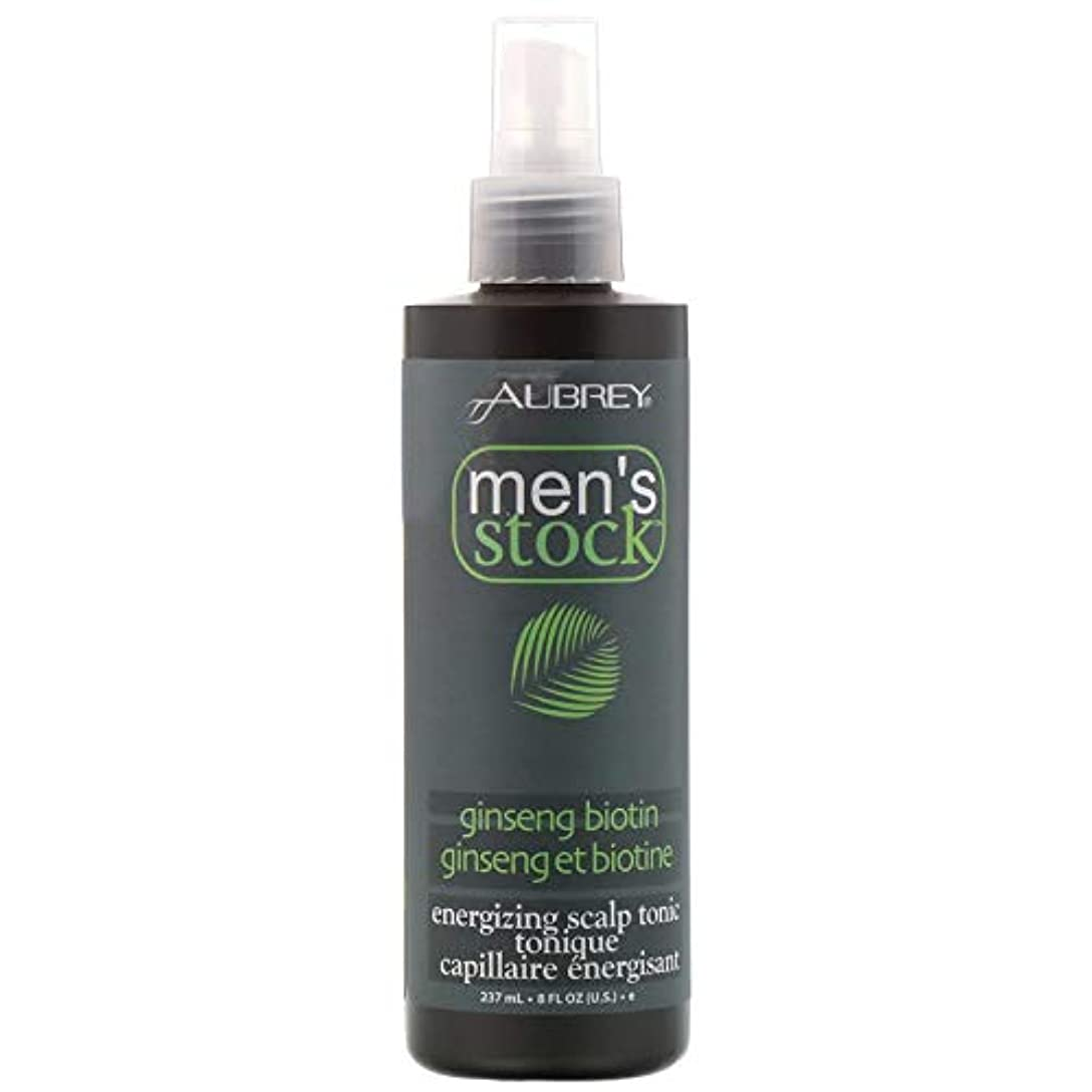 補償沿って気を散らすAubrey Organics, Men's Stock, Energizing Scalp Tonic, Ginseng Biotin, 8 fl oz (237 ml) [並行輸入品]