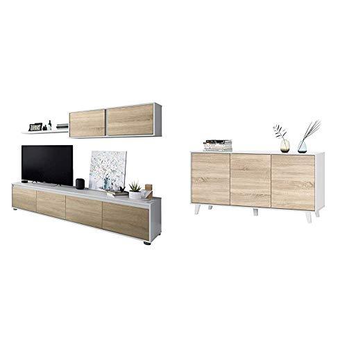 Habitdesign 0F6663A - Mueble de salón Moderno, modulos Comedor Alida + Aparador Buffet, contrachapada, Blanco/Madera, 54 cm x 75 cm x 41 cm