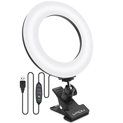 VPOW Videokonferenz Licht, Ringlicht Laptop, Beleuchtung Videokonferenz, Dimmbare Ringleuchte mit Clip für Fernarbeit/Fernunterricht/Zoom-Anruf/Selbstübertragung/Live Stream/Fotografie/YouTube/TikTok