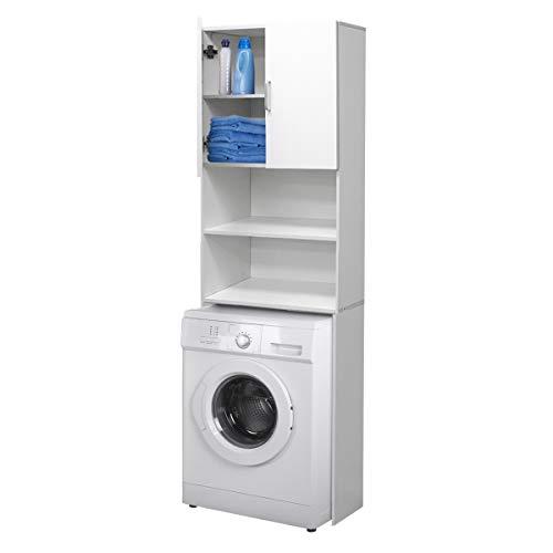 *ECD Germany Waschmaschinenschrank 190 x 62,5 cm mit 2 Türen Weiß Badezimmerschrank für Waschmaschine Trockner – Hochschrank Badmöbel Badregal Badschrank Umbauschrank Überbau Waschmaschinenüberbau*