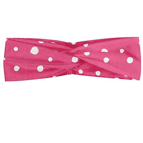 ABAKUHAUS Pink Dots Polka Bandeau, Mise en page monochrome Motif de grunge Drawn simple Rounds Illustration, Serre-tête Féminin Élastique et Doux pour