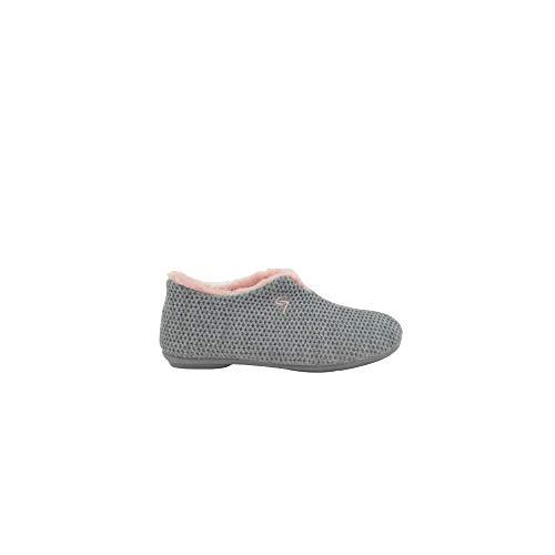 Zapatillas de Estar por casa Cerrada Gris-Rosa