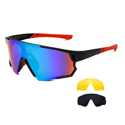 Long Keeper Occhiali Ciclismo Polarizzati con 3 Lenti Intercambiabili Occhiali da sole Sportivi da Uomo Donna UV400 Protezione per Corsa Bici Sport (Grigio + Giallo + Verde)