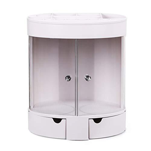 JAY-LONG Boîtes De Rangement Cosmétiques Rotatives À 360 Degrés/Organisateurs De Maquillage Réglables en ABS/Présentoir De Parfums De Bijoux/Porte-Pinceau De Maquillage,Blanc