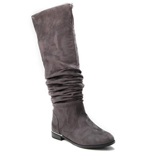 HERIXO Damen Schuhe 2-in-1 Overknee hoher weicher Stiefel locker faltig Falten gefaltet doppellagig Wildlederimitat lang gestaucht Dicke Waden breiter Schaft (40 EU, Grey)