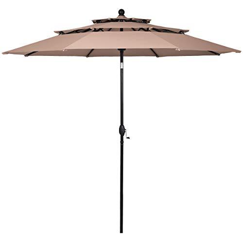 Tangkula 10 Ft 3 Tier Auto-tilt Patio Umbrella, Outdoor Umbrella W/Double Vented, Market Table Tilt Umbrella with Crank, Outdoor Aluminum Umbrella for Market, Backyard, Pool, Garden (Beige)