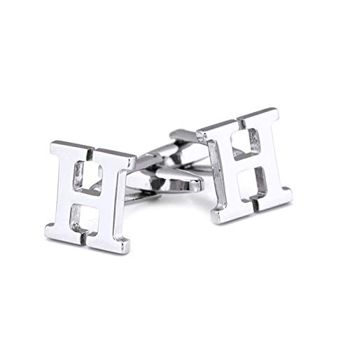 Sozoz Cufflinks for Men,Stainless Steel Letter H Silver Cuff Lins