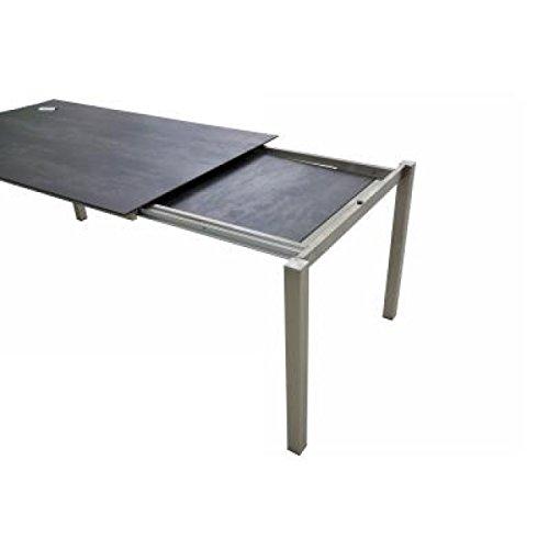 SIT Mobilia uittrektafel Manhattan roestvrij staal tafelblad HPL donkergrijs 210/270x95