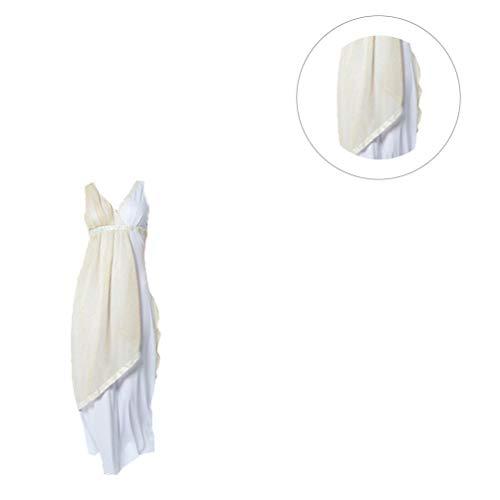 LUOEM Halloween Griego Dama Cosplay Vestido Blanco Beige Mujer Vestido Disfraz Poliéster Vestido Halloween Disfraz para Fiesta de Halloween