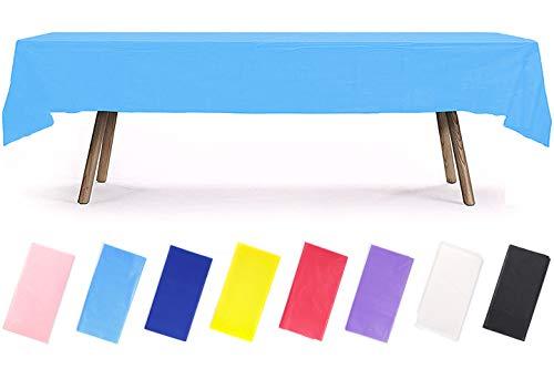 PartyWoo Tischdecke Blau, 137 x 274 cm/ 54 x 108 Zoll Rechteckige Tischdecke Abwaschbar für 6 bis 8 Fuß Tisch, Tischtuch, Table Cloth, Wasserdichte Tischdecke für Party, Geburtstag, Hochzeit (1 STÜCK)