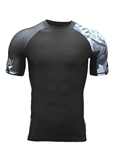 HUGE SPORTS Men's Splice UV Sun Protection UPF 50+ Skins Rash Guard Short Sleeves(Bear,L)
