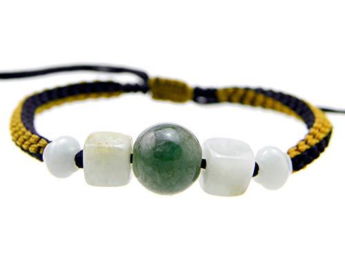 Agathe Creation JBA050308 – Pulsera de jade auténtico, cuentas de jade natural – Hecho a mano