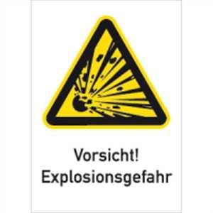 Aufkleber Vorsicht! Explosionsgefahr 18,5x13,1cm Folie