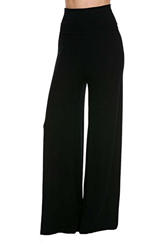 Superline Womens Wide Leg High Fold Over Waist Palazzo Pants Black Solid X-Large