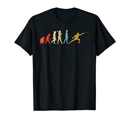 Retro Evolution des Fechtens Sport Kleidung Geschenk Fechter T-Shirt