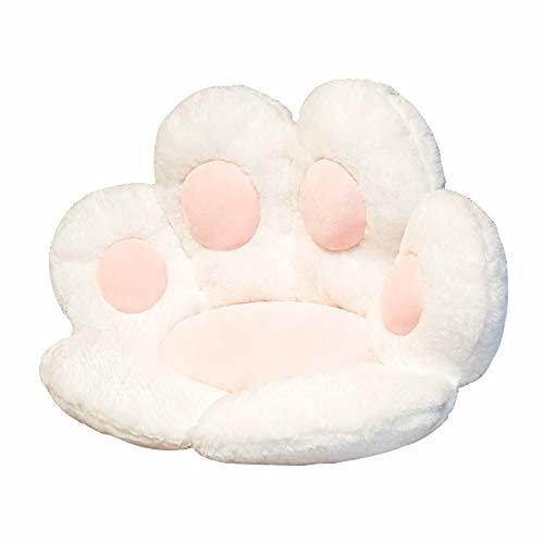 XY Kawaii - Cojín para asiento de animales con diseño de pata de gato de peluche, calentador de manos, sofá de felpa, decoración de la silla del hogar, regalo de invierno para niños (blanco)