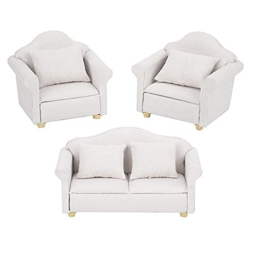 YOUTHINK 3Pcs 1:12 Mini Doll House Sofa Miniatura Sillón Set Mini Dollhouse Accesorio para Muebles de Dormitorio Toy (Matcha Color/White)(Blanco)