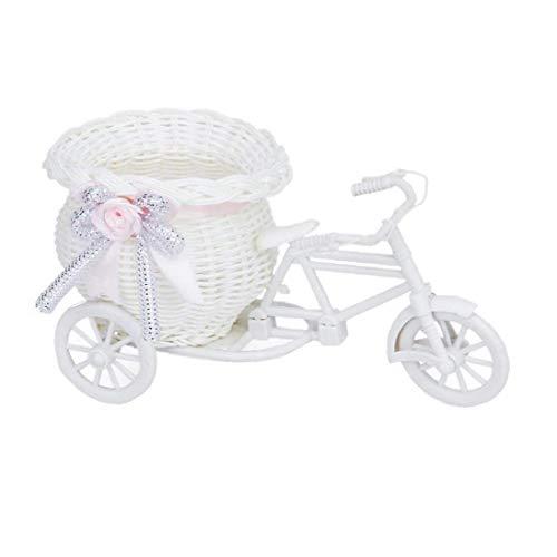 Homiki Fahrrad-Form-Blumen-Korb Kreative Blumenvase Fahrradhalter Handgemachte Rattan Fahrrad Blumentopf Weiß und Pink Room Decor