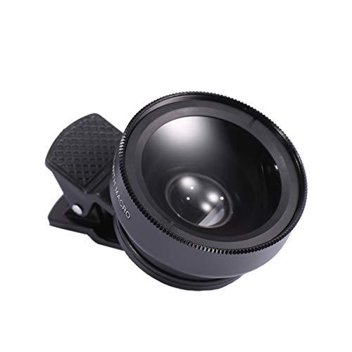 Hemobllo Lente universale per telefono cellulare con lente a clip 2 in 1 obiettivo macro grandangolare esterno per telefono cellulare per smartphone (nero)