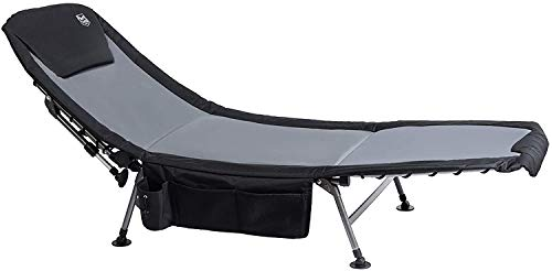 Timber Ridge XL Folding Fishing Bed Chair Foldable Camping Bed Supports 300 lbs Utility Adjustable Reclining Bed Heavy Duty Portable with Carry Bag Side Storage Bag