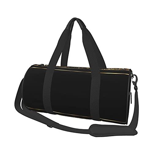 Bolsa de deporte de gimnasio, ligera, potable, bolsa de lona para el hombro, bolsa de lona de mármol dorado y negro, bolsa de viaje multifunción, bolsa para gimnasio y fitness