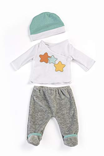 Miniland 2-teiliges Pyjama mit Mütze, grau, 38-40cm, 31222