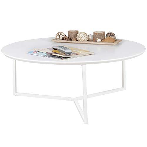 FineBuy Tavolino da caffè Tondo 80 x 80 x 33 cm Bianco Laccato | Tavolo da Salotto Design Moderno | Tavoli da Divano MDF