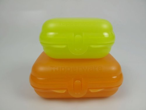 TUPPERWARE To Go Twin orange Gr.2 + MiniTwin limette Gr.1 Brotdose Brot Box